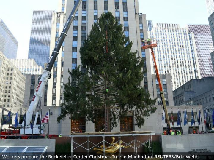 Workers set up the Rockefeller Center Christmas Tree in Manhattan. REUTERS/Bria Webb