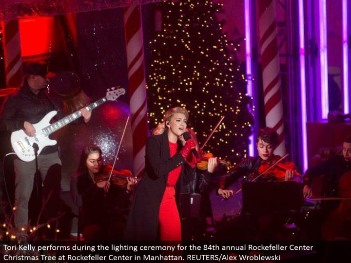 Tori Kelly performs amid the lighting function for the 84th yearly Rockefeller Center Christmas Tree...