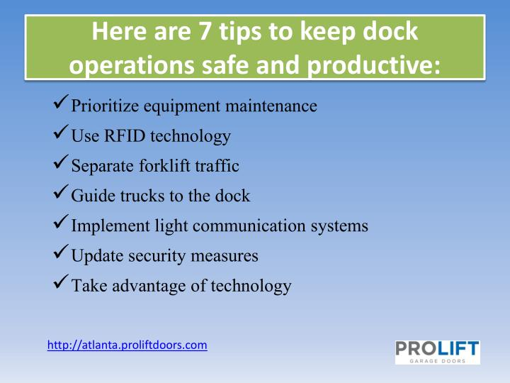 Here are 7 tips to keep dock operations safe and productive