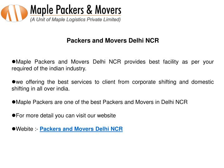 Packers and Movers Delhi NCR