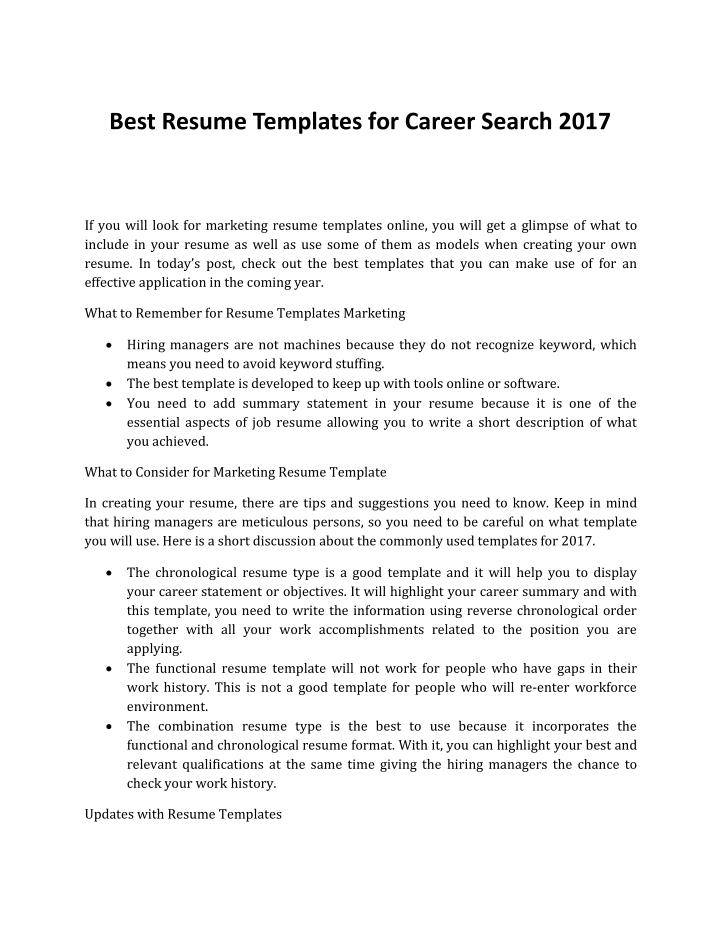 Best Resume Templates for Career Search 2017