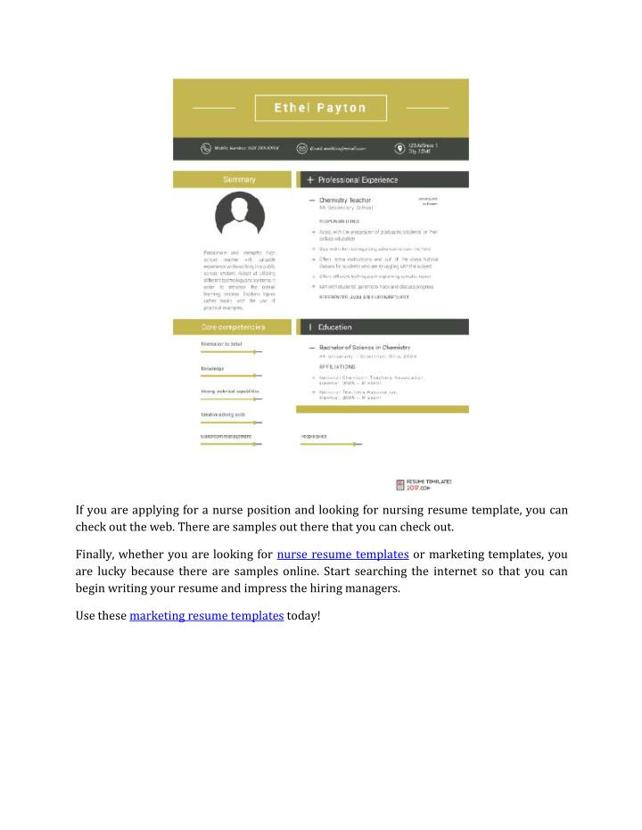 If you are applying for a nurse position and looking for nursing resume template, you can