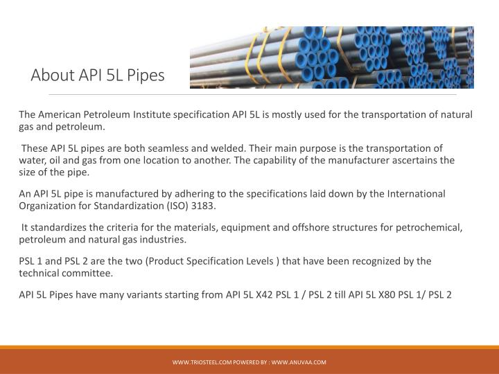 About API 5L Pipes