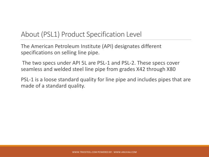 About (PSL1) Product Specification Level