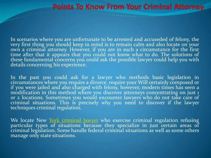 points to know from your criminal attorney