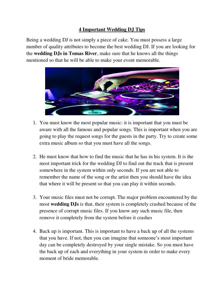 4 Important Wedding DJ Tips