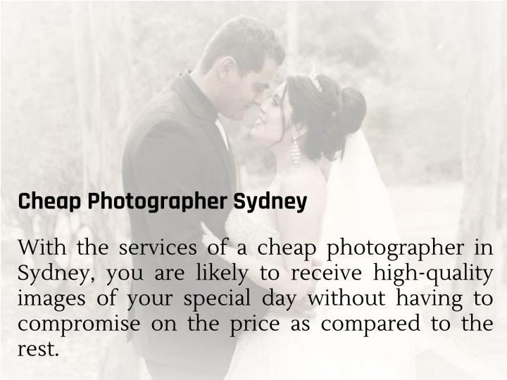 Cheap Photographer Sydney