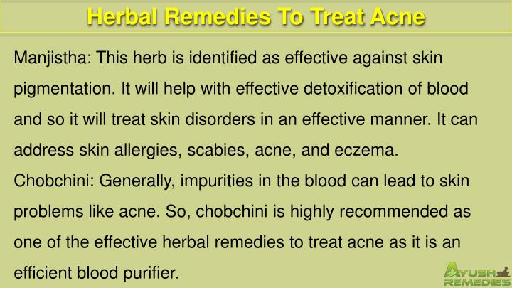 Herbal Remedies To Treat Acne