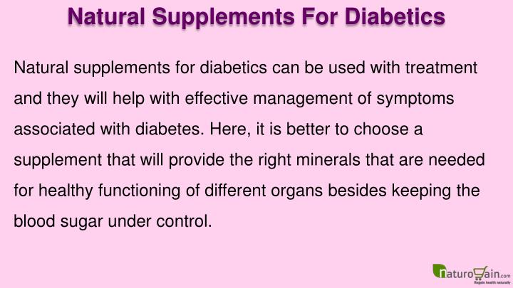 Natural Supplements For Diabetics