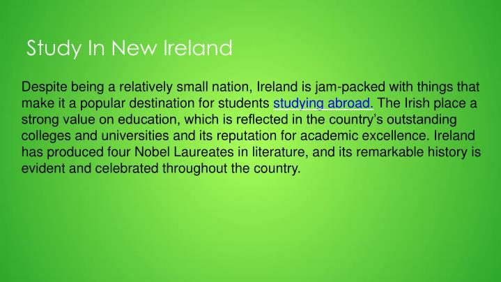 Study In New Ireland