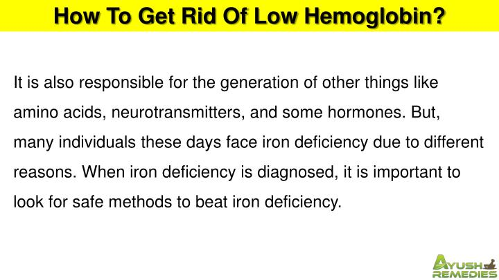 How To Get Rid Of Low Hemoglobin?