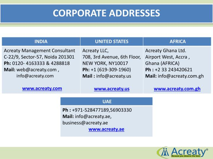 CORPORATE ADDRESSES
