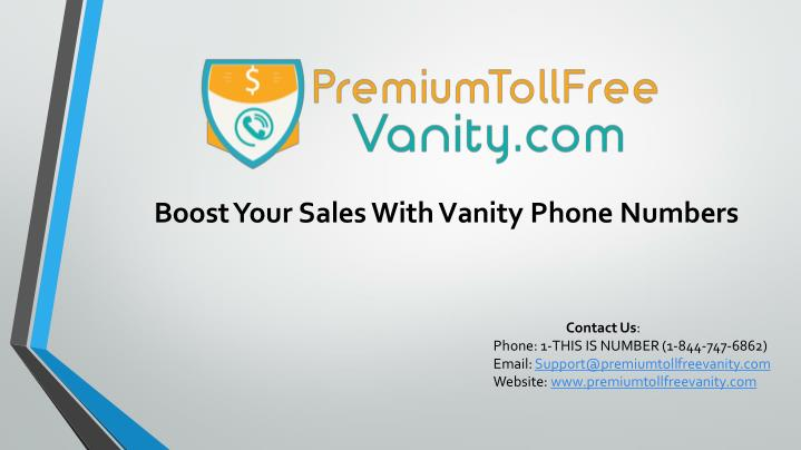 Boost Your Sales With Vanity Phone Numbers