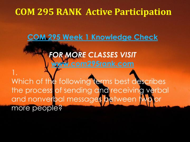 COM 295 RANK