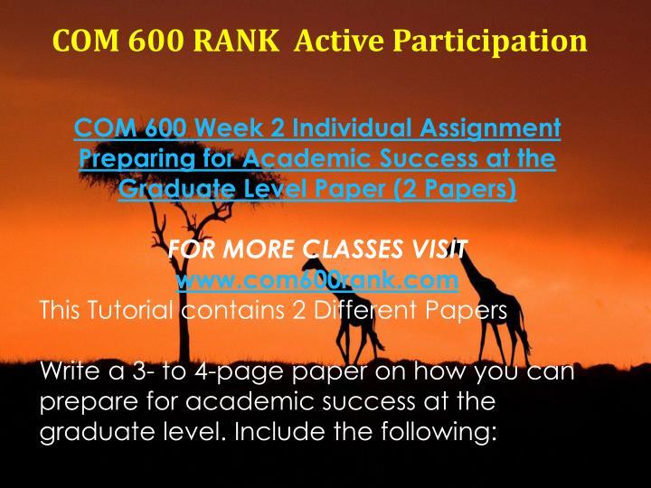 COM 600 RANK