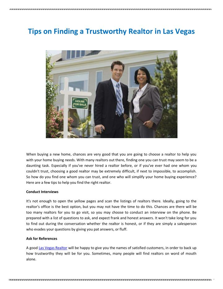 Tips on Finding a Trustworthy Realtor in Las Vegas