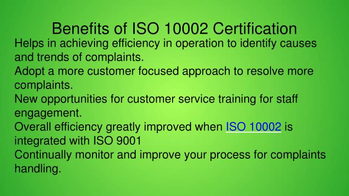 Benefits of ISO 10002 Certification