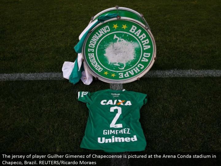The shirt of player Guilher Gimenez of Chapecoense is envisioned at the Arena Conda stadium in Chapeco, Brazil. REUTERS/Ricardo Moraes