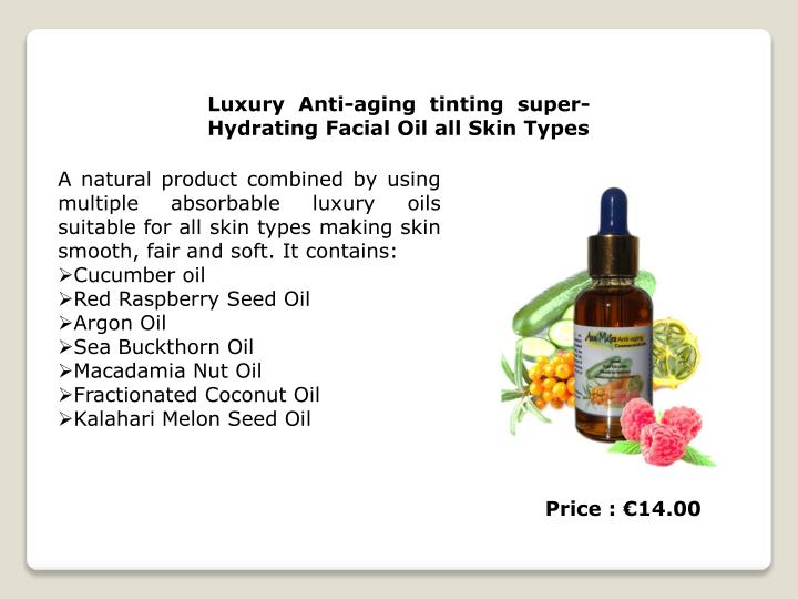 Luxury Anti-aging tinting super-Hydrating Facial Oil all Skin Types