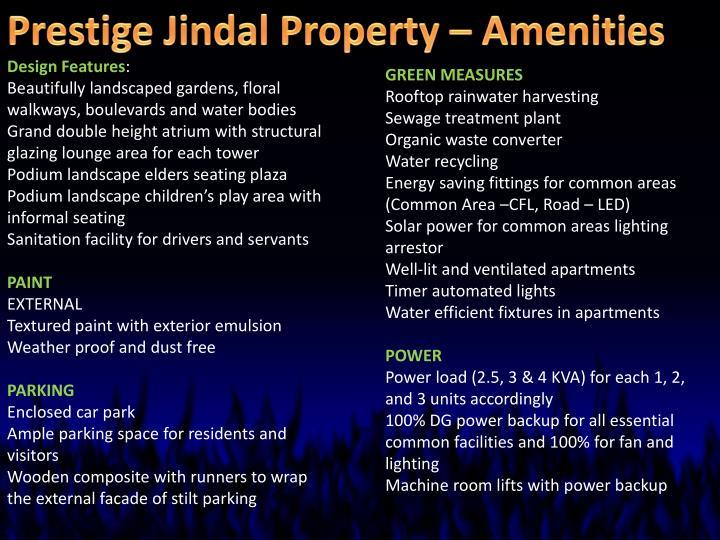 Prestige Jindal Property – Amenities