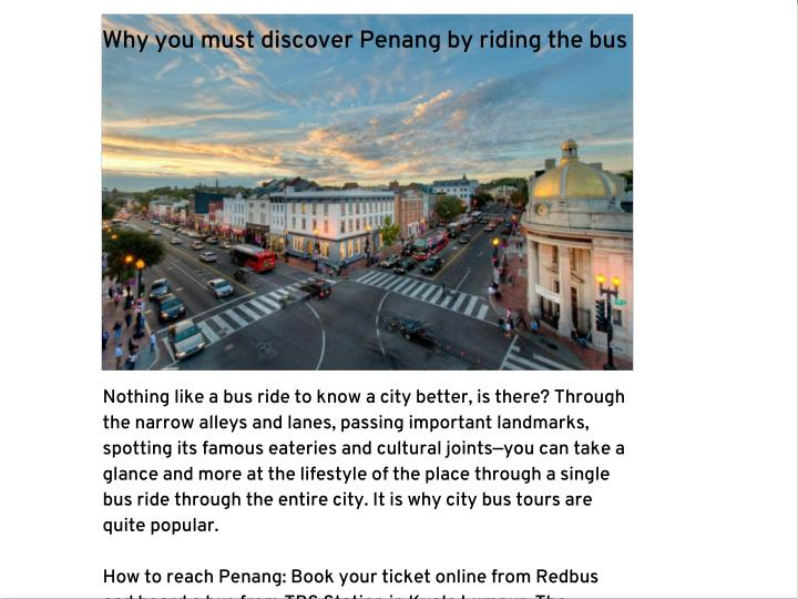 Why you must discover Penang by riding the bus