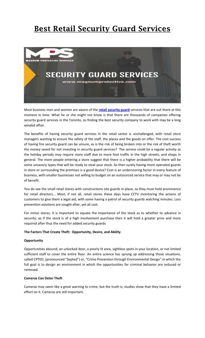 Best Retail Security Guard Services