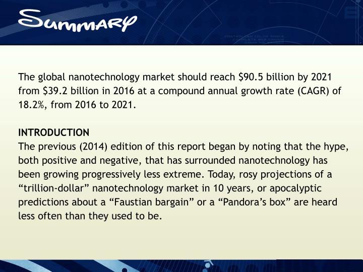 The global nanotechnology market should reach $90.5 billion by 2021
