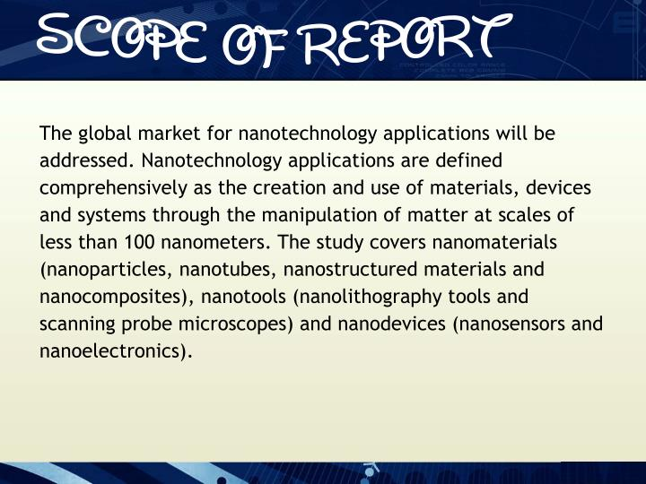 The global market for nanotechnology applications will be