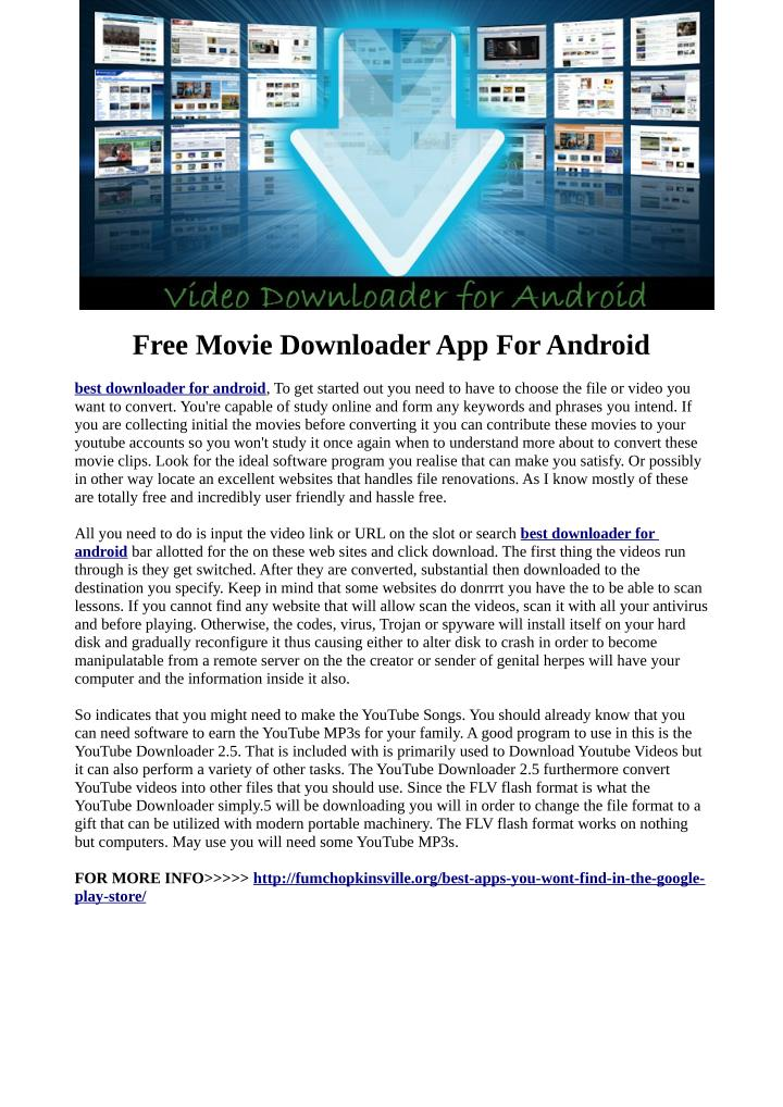 Free Movie Downloader App For Android