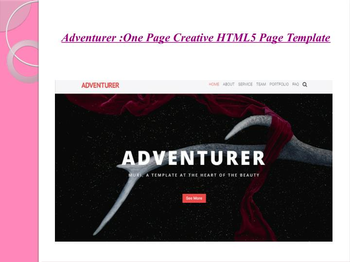 Adventurer :One Page Creative HTML5 Page Template