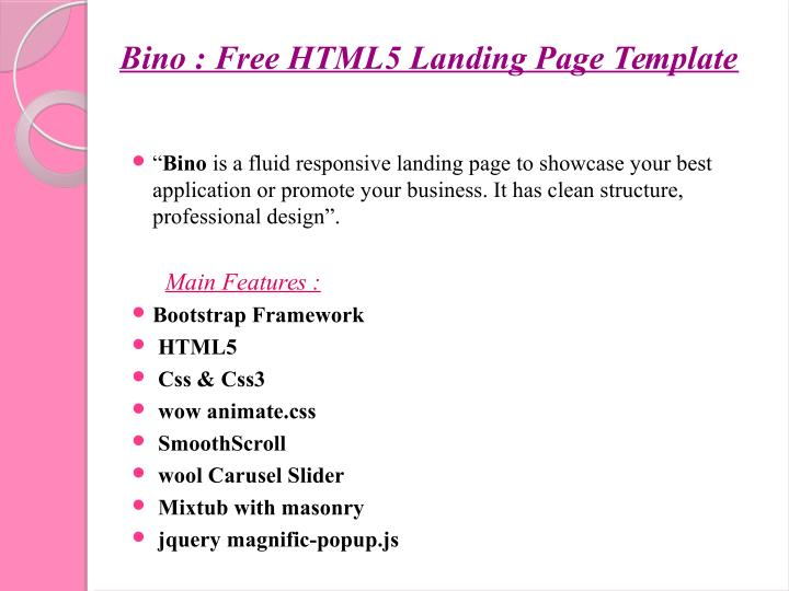 Bino : Free HTML5 Landing Page Template