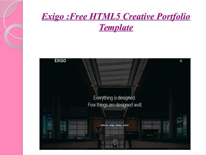 Exigo :Free HTML5 Creative Portfolio