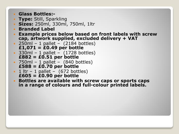 Glass Bottles:-