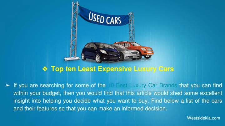 Top ten Least Expensive Luxury Cars