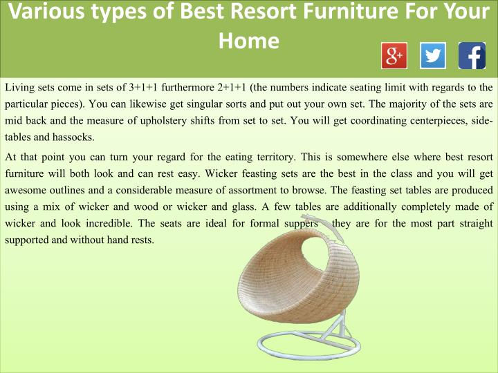 Various types of best resort furniture for your home2