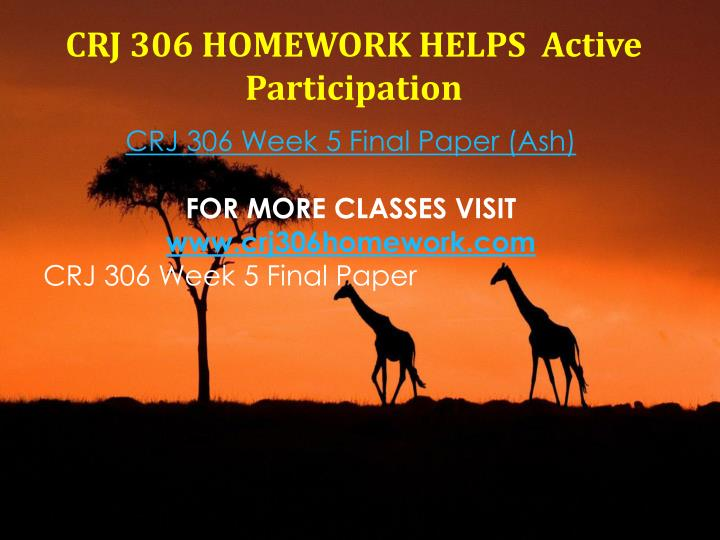 CRJ 306 HOMEWORK HELPS