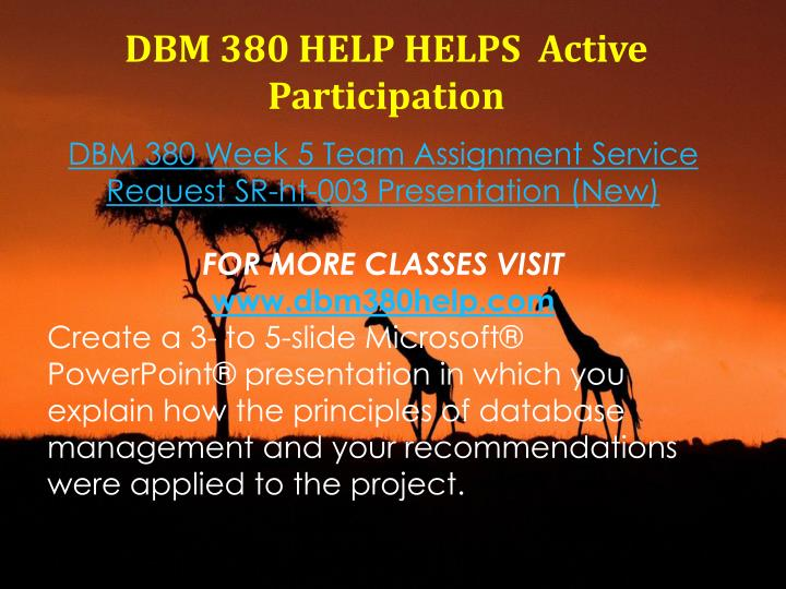 DBM 380 HELP HELPS