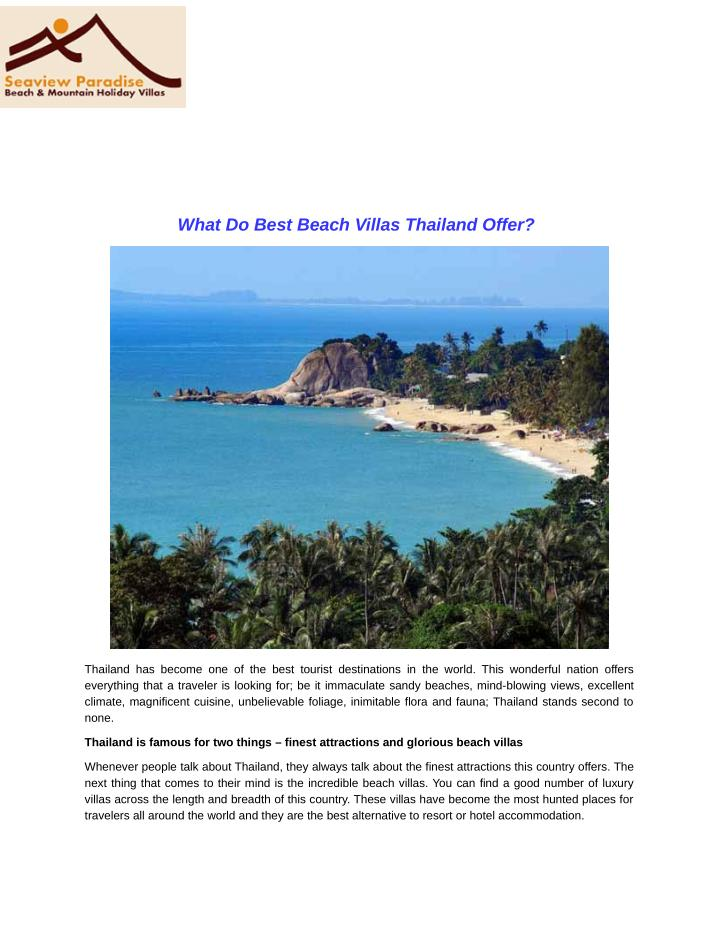 What Do Best Beach Villas Thailand Offer?