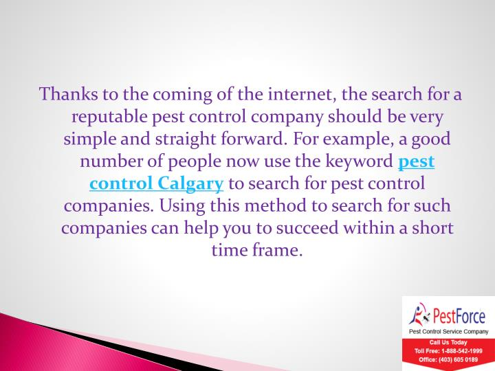 Thanks to the coming of the internet, the search for a reputable pest control company should be very simple and straight forward. For example, a good number of people now use the keyword