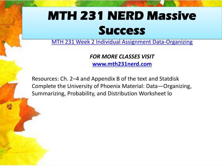 MTH 231 NERD Massive Success