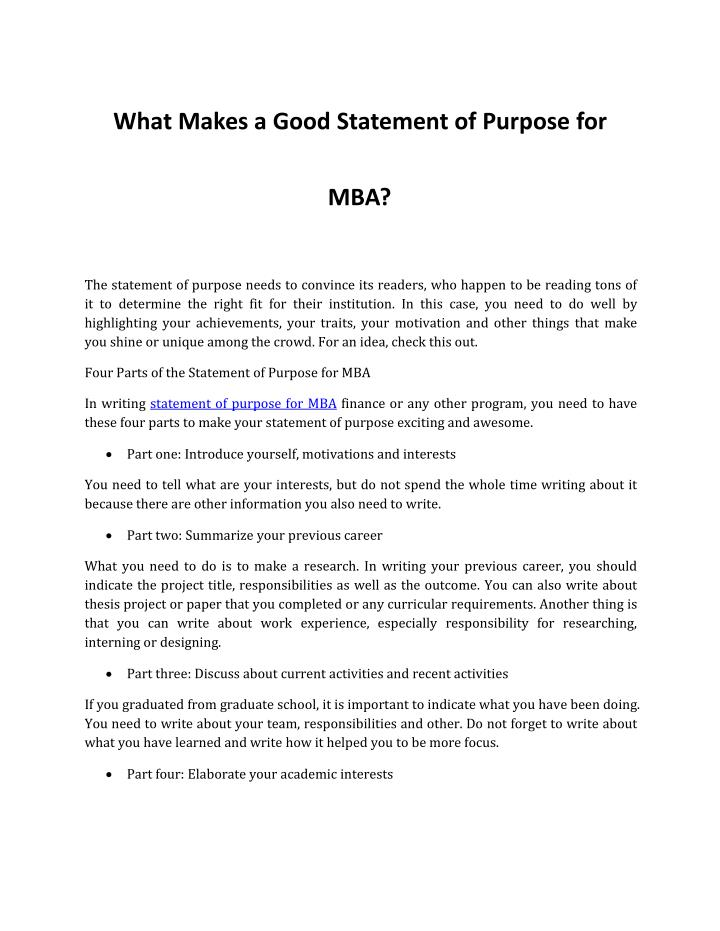 What Makes a Good Statement of Purpose for