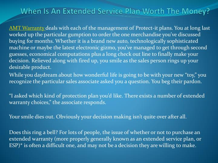 When is an extended service plan worth the money