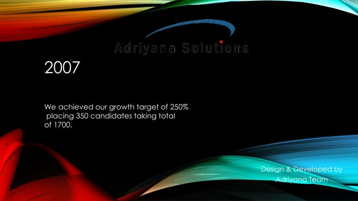 We achieved our growth target of 250%