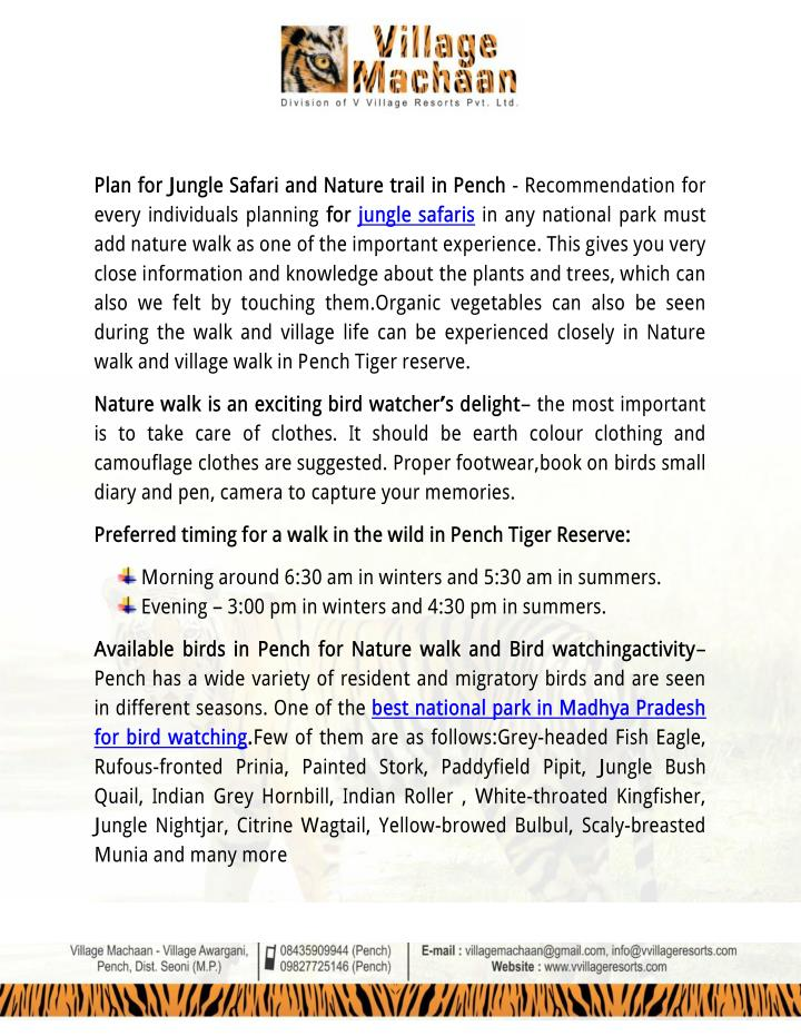 Plan for Jungle Safari and Nature trail in Pench