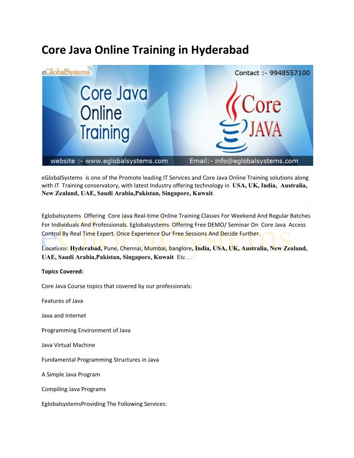 Core Java Online Training in Hyderabad