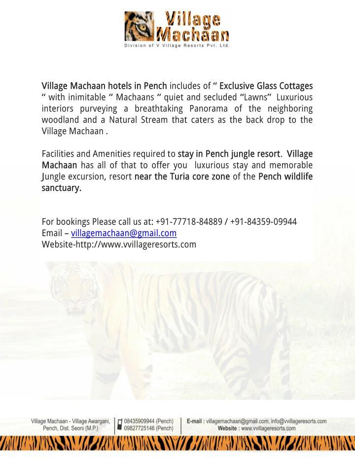 Village Machaan hotels in Pench