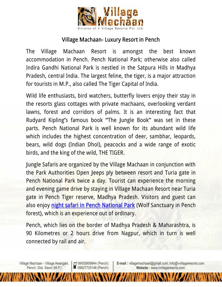 Village Machaan- Luxury Resort in Pench