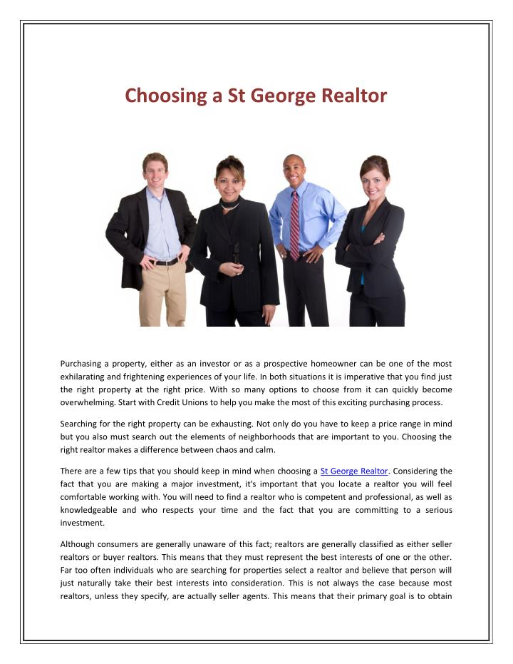 Choosing a St George Realtor