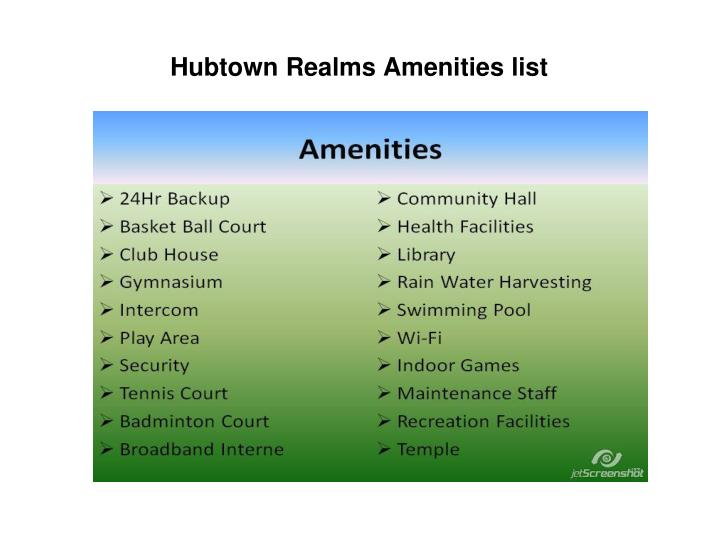 Hubtown Realms Amenities list