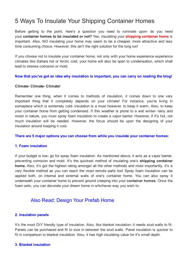 Ppt 5 ways to insulate your shipping container homes powerpoint presentation id 7455391 - Methods to insulate your shipping container home ...